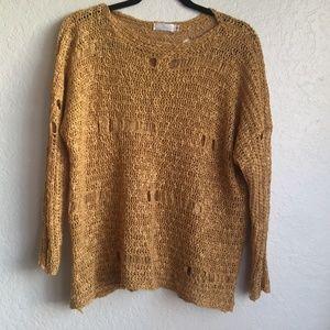 Millau Yellow Distressed Oversized Sweater LF